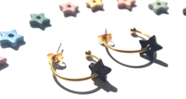 """Make a Wish"" Pastels Ceramic Star Earrings"
