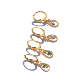 Oval Golden Hoop & Bead Earrings