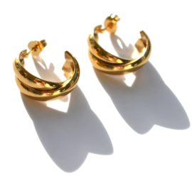 Double Hoop Golden Earstuds