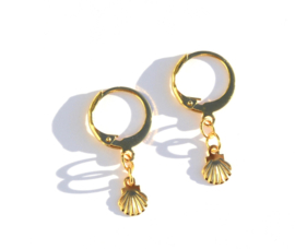 Shell Golden Hoop Earrings