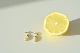 Jade & Cube Golden Earrings
