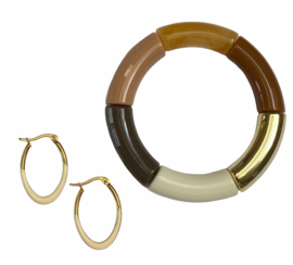 Creamy Golden Hoop Earrings