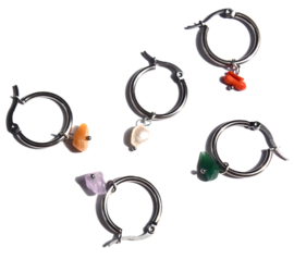 Rainbow Earring Silver Hoops