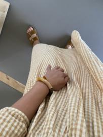 Natural & Gold Rainbow Tube Bracelet