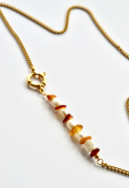 Amber & Pearl Golden Chain Necklace