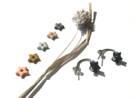 """""""Make a Wish"""" Nature Silver Ceramic Star Earrings"""