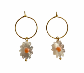 Golden Little Daisy Hoop Earrings