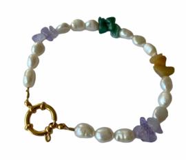 Chunky Gemstone & Pearls Bracelet