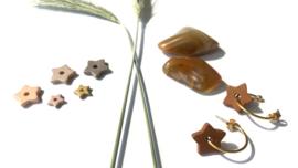 """Make a Wish"" Nature Gold Ceramic Star Earrings"