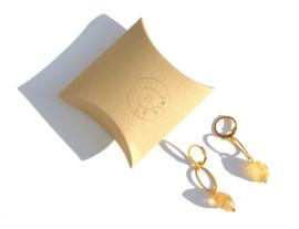 Circle & Citrine Long Earrings