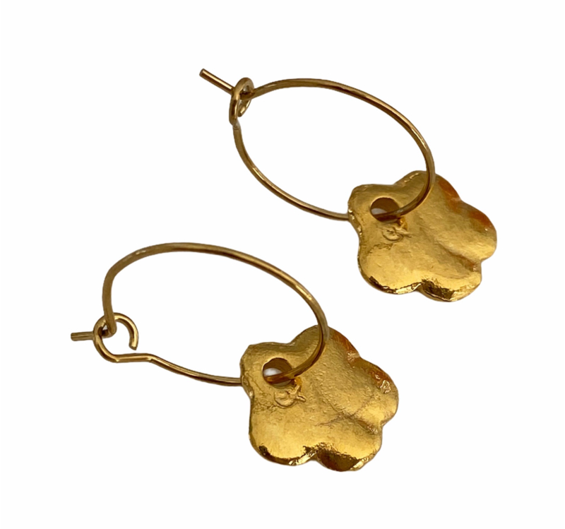 Golden Flower Hoop Earrings