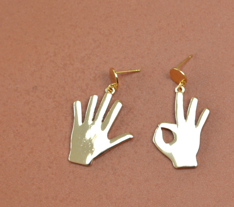 Hands Up Golden Earrings