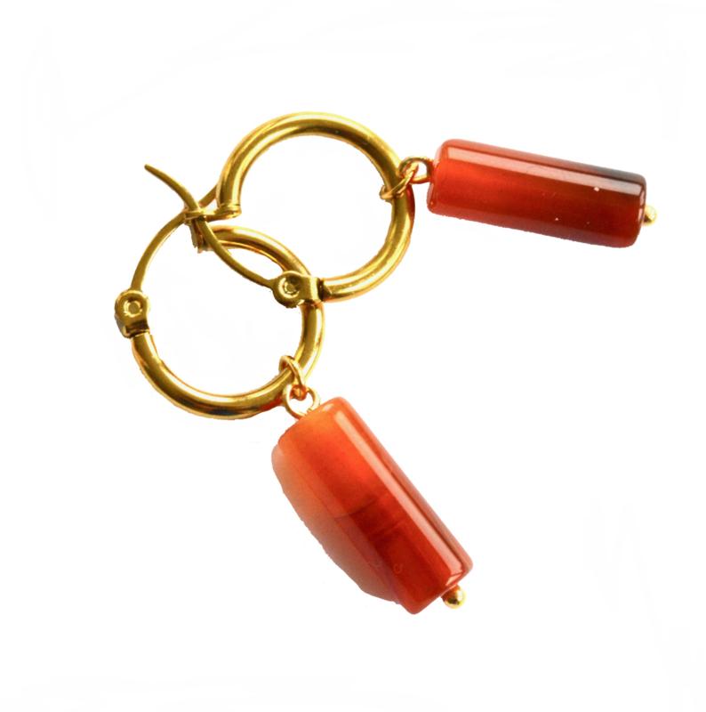 Agate Stone Hoop Earrings