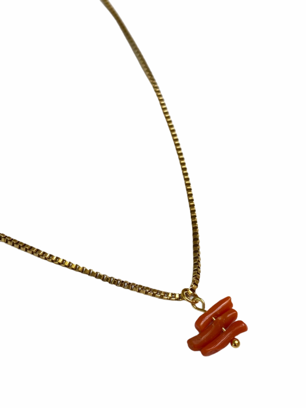 Pure Coral Golden Necklace
