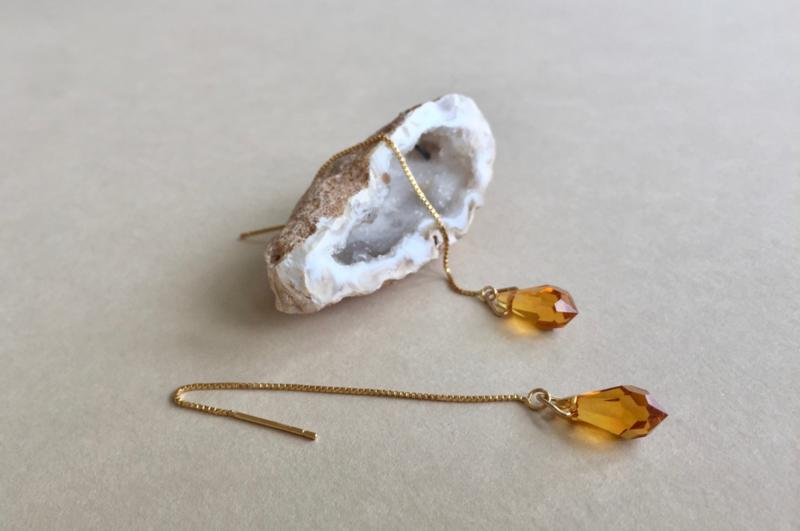 Crystal Topaz Threader Earrings
