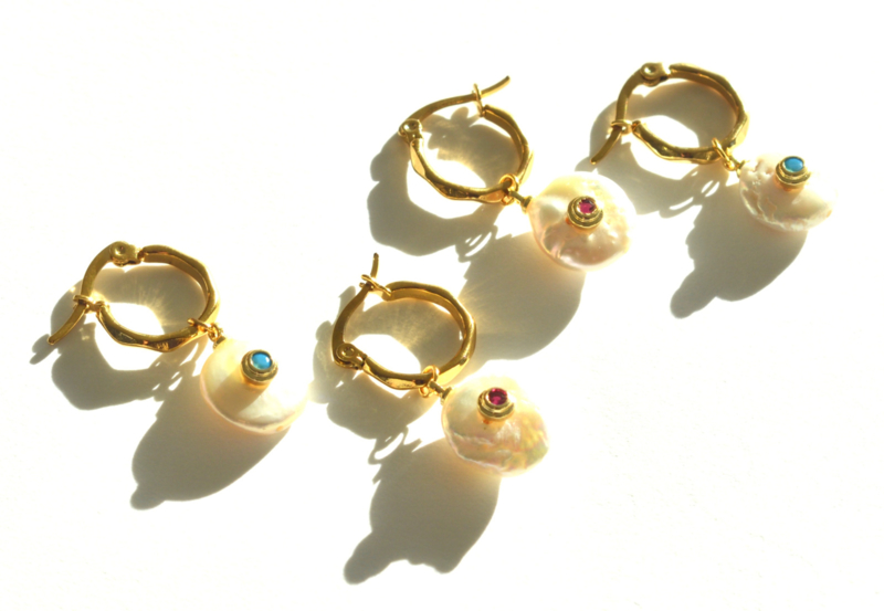 Pearl & Zirconia Hoop Earrings