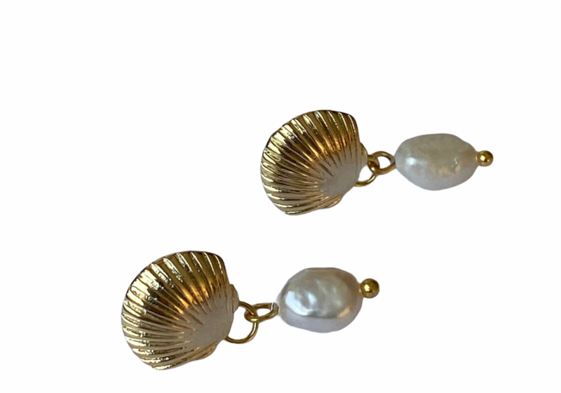Shell & Pearl Golden Earrings