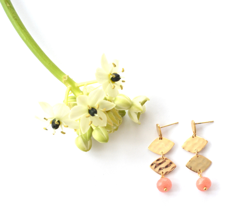 Leaves & Stone Long Earrings