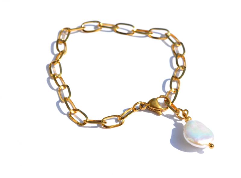 Keshi Chain Golden Bracelet