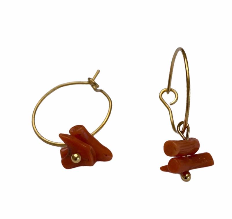 Coral Golden Hoop Earrings