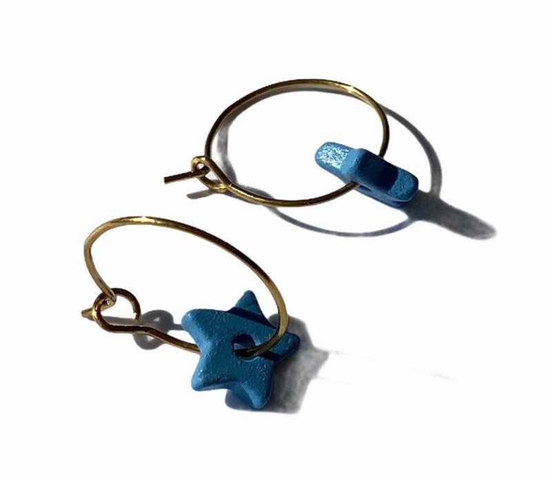 Ceramic Stars Hoop Earrings