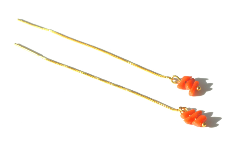 Gold & Coral Threader Earrings