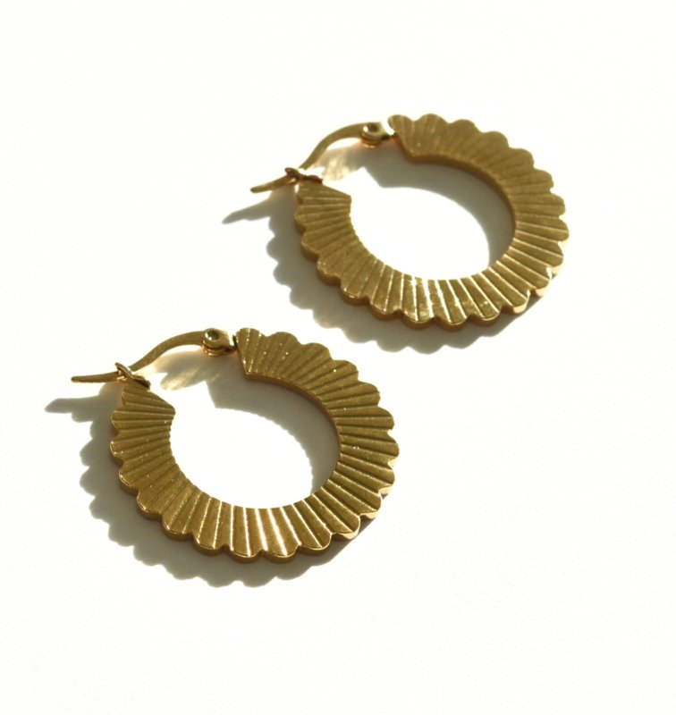 Golden Flower Hoop Earrings