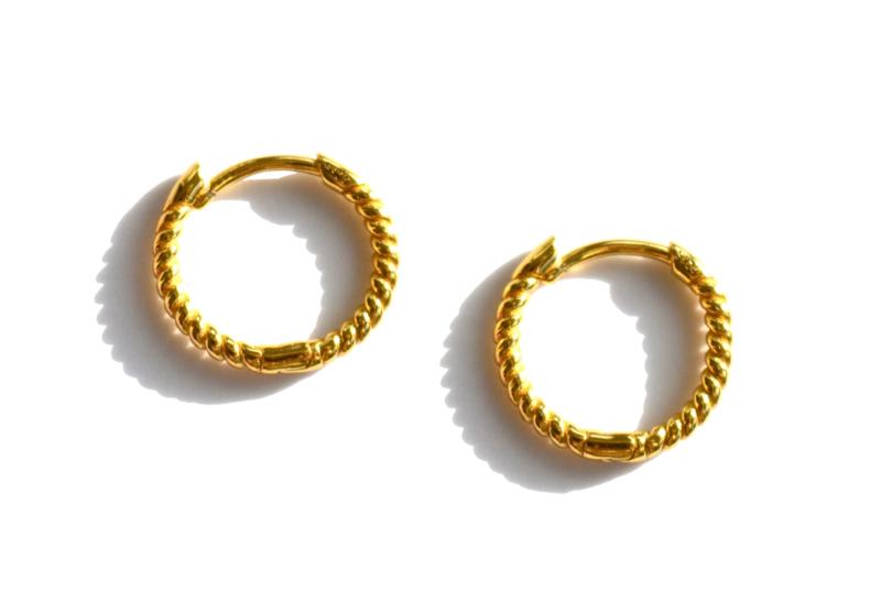 Small Sterling Twisted Golden Hoop Earrings