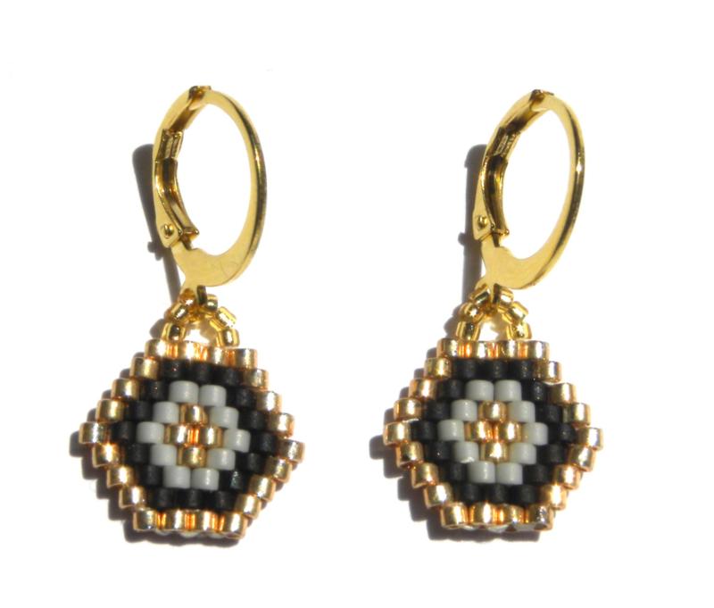 Woven Beads Golden Earrings