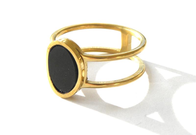 Ovale Black & Gold Ring