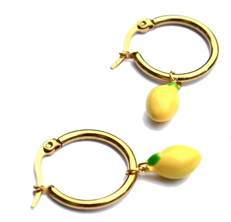 Lemon Golden Hoop Earrings