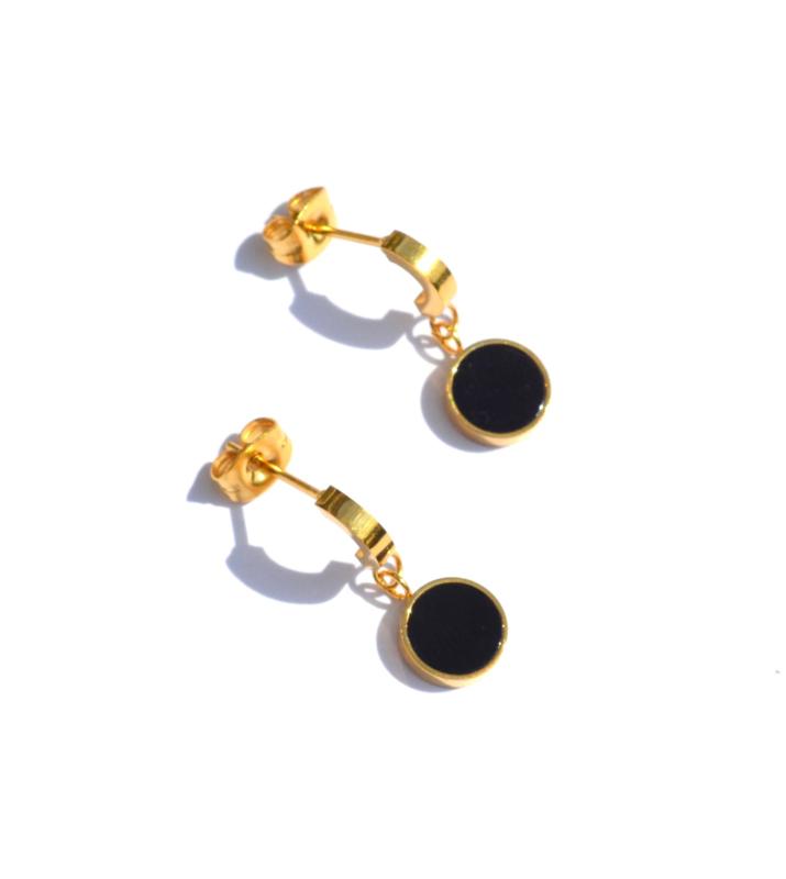 Black Shell Circle Earrings