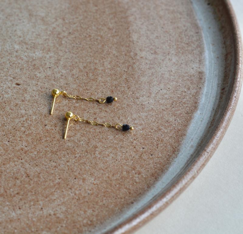 Black Stone Long Earrings
