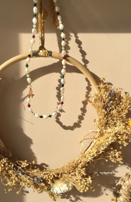 Colorful Keshi Pearl Necklace