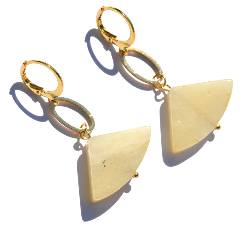 Topaz Jade Fan Earrings
