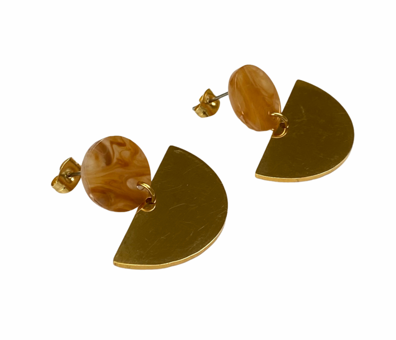 Fan & Circle Earrings