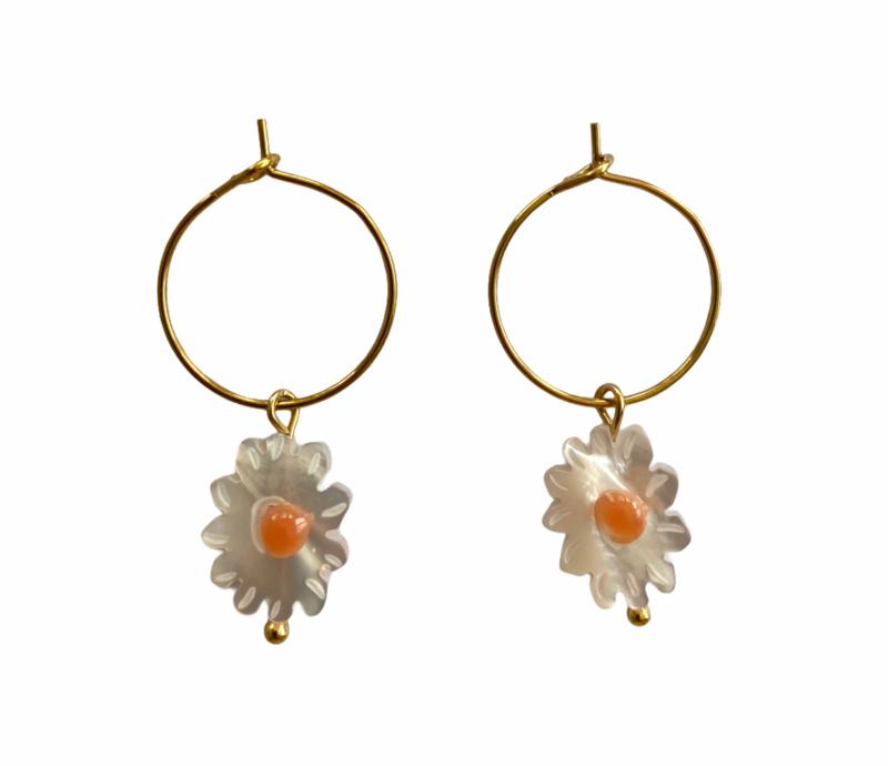 Golden Little Daisy Hoop Earrings