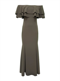 Khaki kleurige Off shoulder jurk maat 34 36 38 40