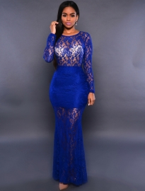 Blauwe super elegante kanten avond jurk