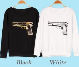 Witte pistool opdruk longsleeve