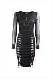 Zwarte wetlook mesh veter jurk maat 36 38