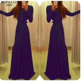Paarse katoenen maxi jurk