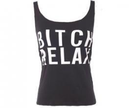 Leuke zwarte top met opdruk 'Bitch Relax'