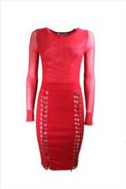 Rode wetlook mesh veter jurk maat 34 36 38 40