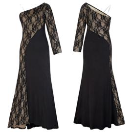 Zwarte lange avond jurk maat 40 en 44