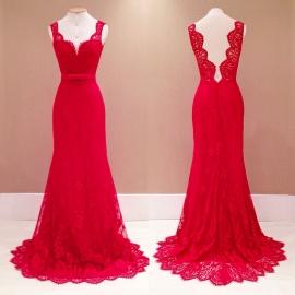 Supergave rode super lange gala jurk