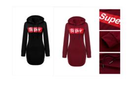 Sportieve zwarte of rode mini jurkje/longsleeve 36 38 40 42