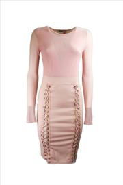 Roze wetlook mesh veter jurk maat 36 38