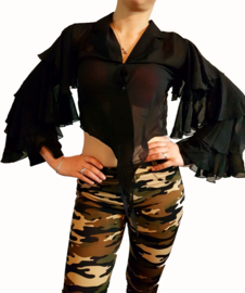 Leuke zwarte vlinder blouse maat 38