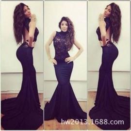Zwarte goedkope avondjurk gala jurk